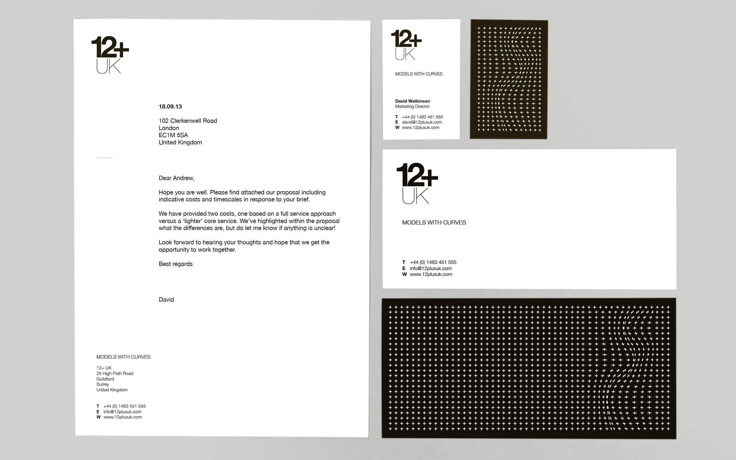 12+ UK model agency stationery