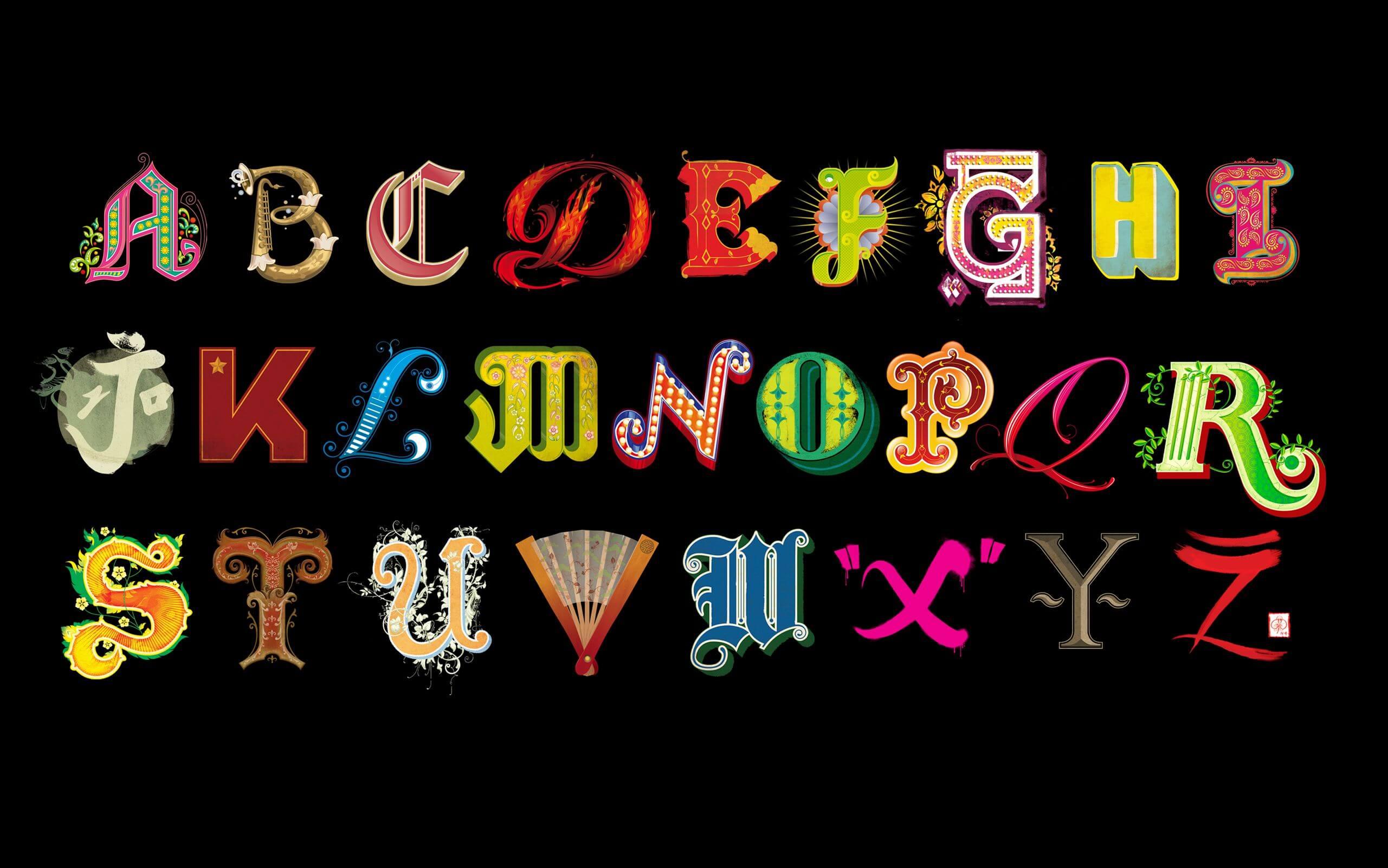 Glorious alphabet illustrated