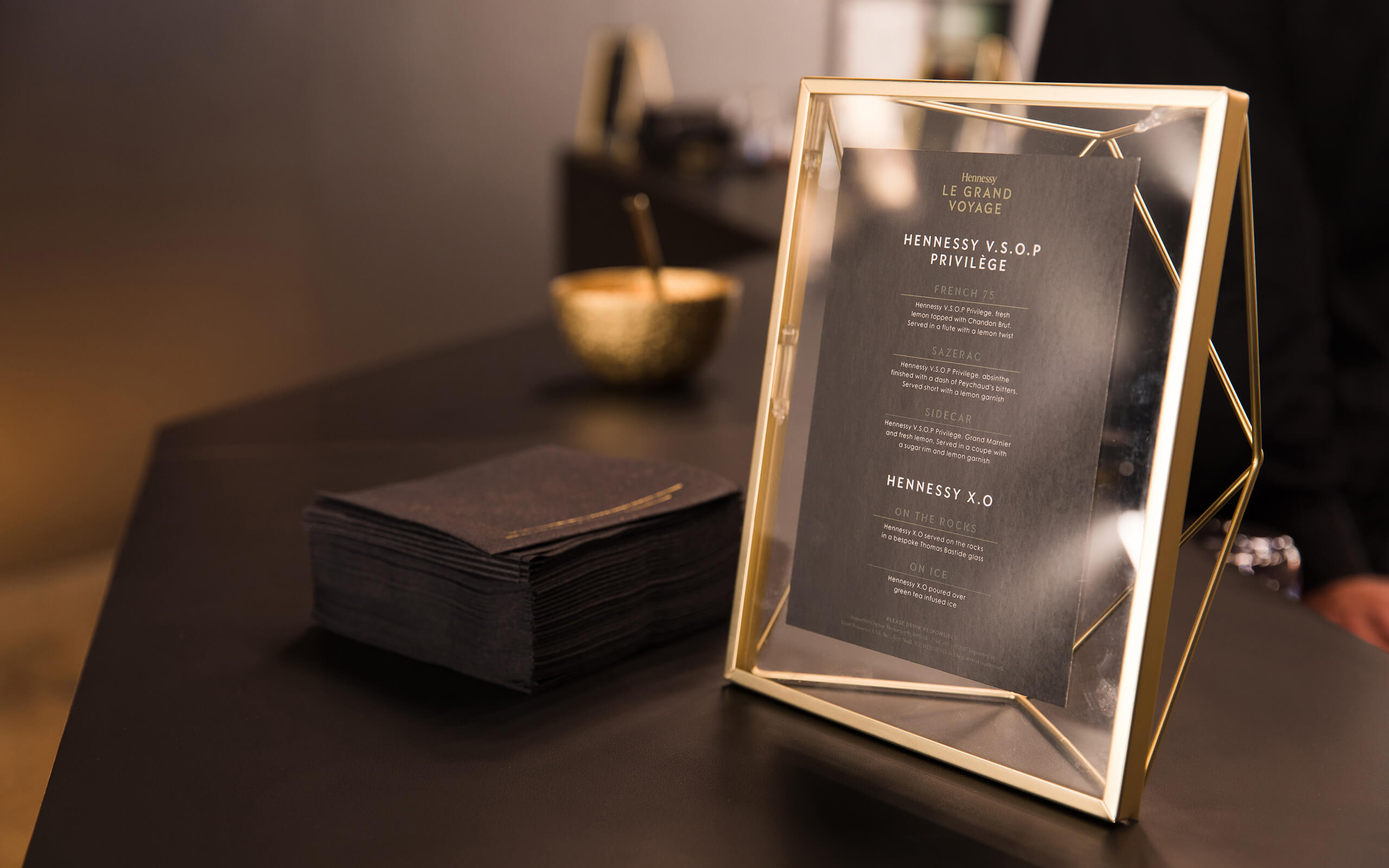 Le Grande Voyage Hennessy menu