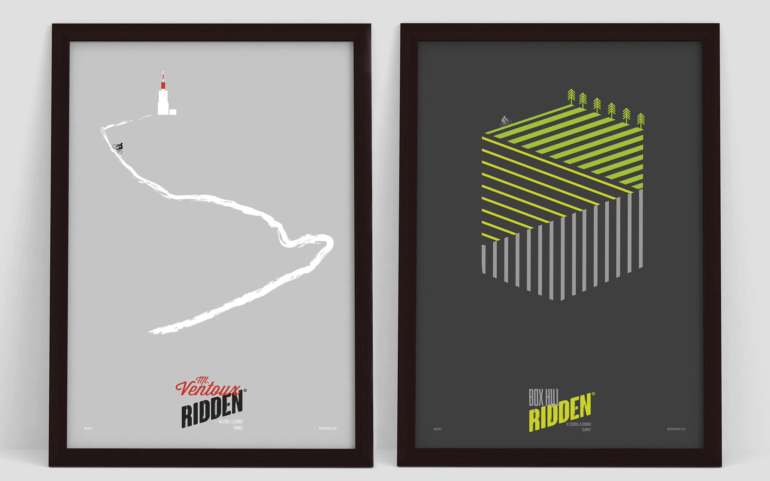 Ridden Ventoux and Box Hill poster designs